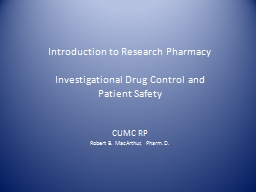 Introduction to Research Pharmacy