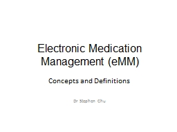 Electronic Medication Management (