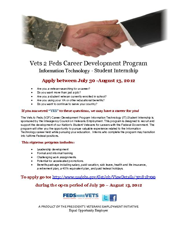 Vets 2 Feds Career Development Program Information Technology - Studen
