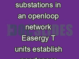How does it work Once installed at the main MV substations in an openloop network Easergy T units establish peertopeer communication using a virtual private network