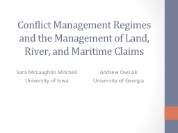 Conflict Management Regimes and the Management of Land, Riv