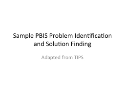 Sample PBIS Problem Identification and Solution Finding