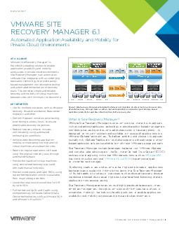 DATASHEET   DATASHEET What Is vCenter Site Recovery Manager vCenter Site Recovery Manager is the industryleading disaster recovery DR management solution