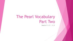 The Pearl Vocabulary