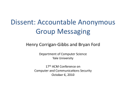 Dissent: Accountable Anonymous Group Messaging