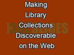 Making Library Collections Discoverable on the Web