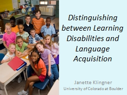 Distinguishing between Learning Disabilities and Language A