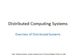 Distributed Computing Systems PowerPoint PPT Presentation