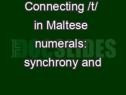 Connecting /t/ in Maltese numerals: synchrony and
