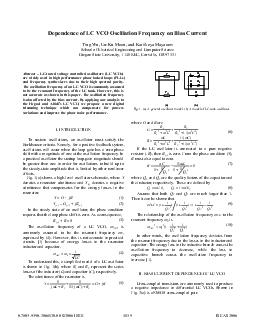 Dependence of LC VCO Oscillation Frequency on Bias Current Ting Wu UnKu Moon and Kartikeya Mayaram School of Electrical Engineering and Computer Science Oregon State University  KEC Corvallis OR  Abs