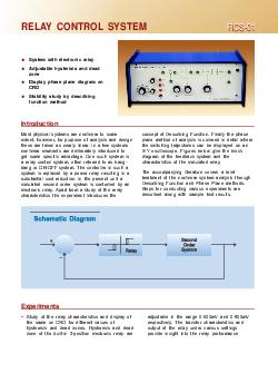 RCS RCS RELAY CONTROL SYSTEM System with electronic relay Adjustable hysterisis and dead zone Display phase plane diagram on CRO Stability study by describing function method Introduction concept of