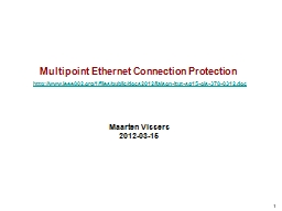 Multipoint Ethernet Connection Protection PowerPoint PPT Presentation