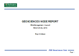GEOSCIENCES NODE REPORT