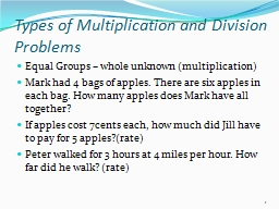 Types of Multiplication and Division Problems PowerPoint PPT Presentation