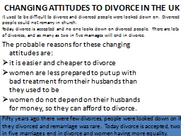 CHANGING ATTITUDES TO DIVORCE IN THE UK