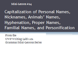 Capitalization of Personal Names, Nicknames, Animals' Nam
