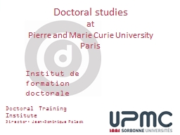1 Doctoral Training Institute PowerPoint PPT Presentation