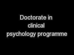 Doctorate in clinical psychology programme
