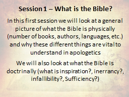 Session 1 – What is the Bible?