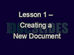 Lesson 1 – Creating a New Document