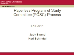 Paperless Program of Study Committee (POSC) Process