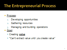 The Entrepreneurial Process PowerPoint PPT Presentation