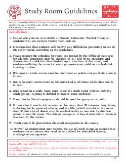 Study Room Guidelines Boston University Medical Campus has adopted the following PDF document - DocSlides