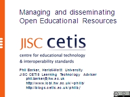 Managing and disseminating Open Educational Resources