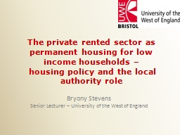 The private rented sector as permanent housing for low inco