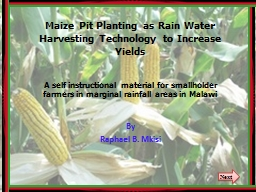Maize Pit Planting as Rain Water Harvesting Technology to I