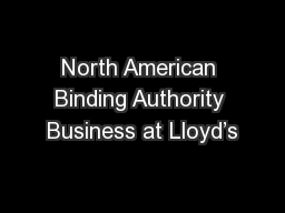 North American Binding Authority Business at Lloyd's