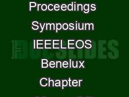 OO Proceedings Symposium IEEELEOS Benelux Chapter  Mons   OO