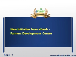 New Initiative from eFresh - Farmers Development Centre