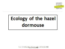 Ecology of the hazel dormouse