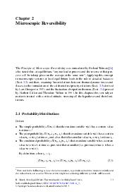 Chapter  Microscopic Reversibility The Principle of Microscopic Reversibility was formulated by Richard Tolman   who stated that at equilibrium any molecular process and the reverse of that pro cess