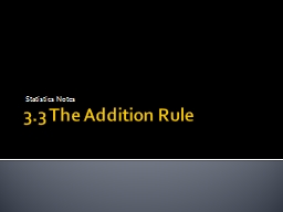 3.3 The Addition Rule