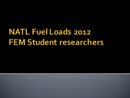 NATL Fuel Loads 2012 PowerPoint PPT Presentation