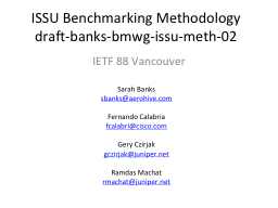 ISSU Benchmarking Methodology