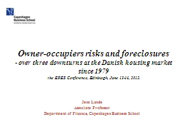 Owner-occupiers risks and foreclosures