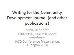 Writing for the Community Development Journal (and other pu