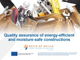 Quality assurance of energy-efficient and moisture-safe con