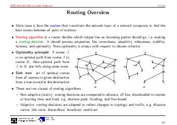 ELEC EL Computer Networks S Chen Routing Overview Main issue is how the routers that constitute the network layer of a network cooperate to nd the best routes between all pairs of stations Routing al