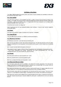 Page of x Rules o f the Game The Official FIBA Basketball Rules of the Game are valid for all game situations not specifically mentioned in the x Rules of the Game herein