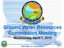 1 Ground Water Resources Commission Meeting PowerPoint PPT Presentation