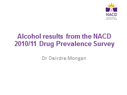 Alcohol results from the NACD 2010/11 Drug Prevalence Surve