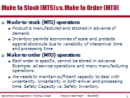 Made-to-stock (MTS) operations