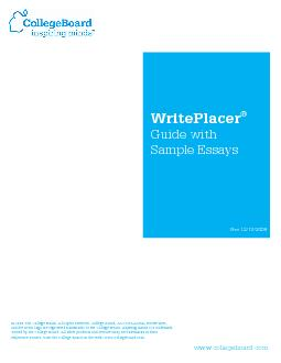 WritePlacer Guide with Sample Essays Rev    The College Board