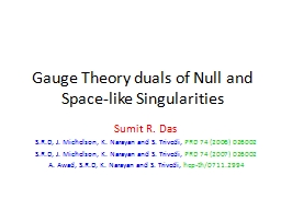 Gauge Theory duals of Null and Space-like Singularities