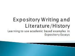 Expository Writing and Literature/History