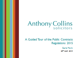 A Guided Tour of the Public Contracts Regulations 2015 PowerPoint PPT Presentation